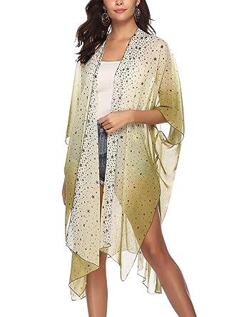 Kimono de Gasa Mujer Verano Bohemio Cardigan Asimetrico Ropa ...