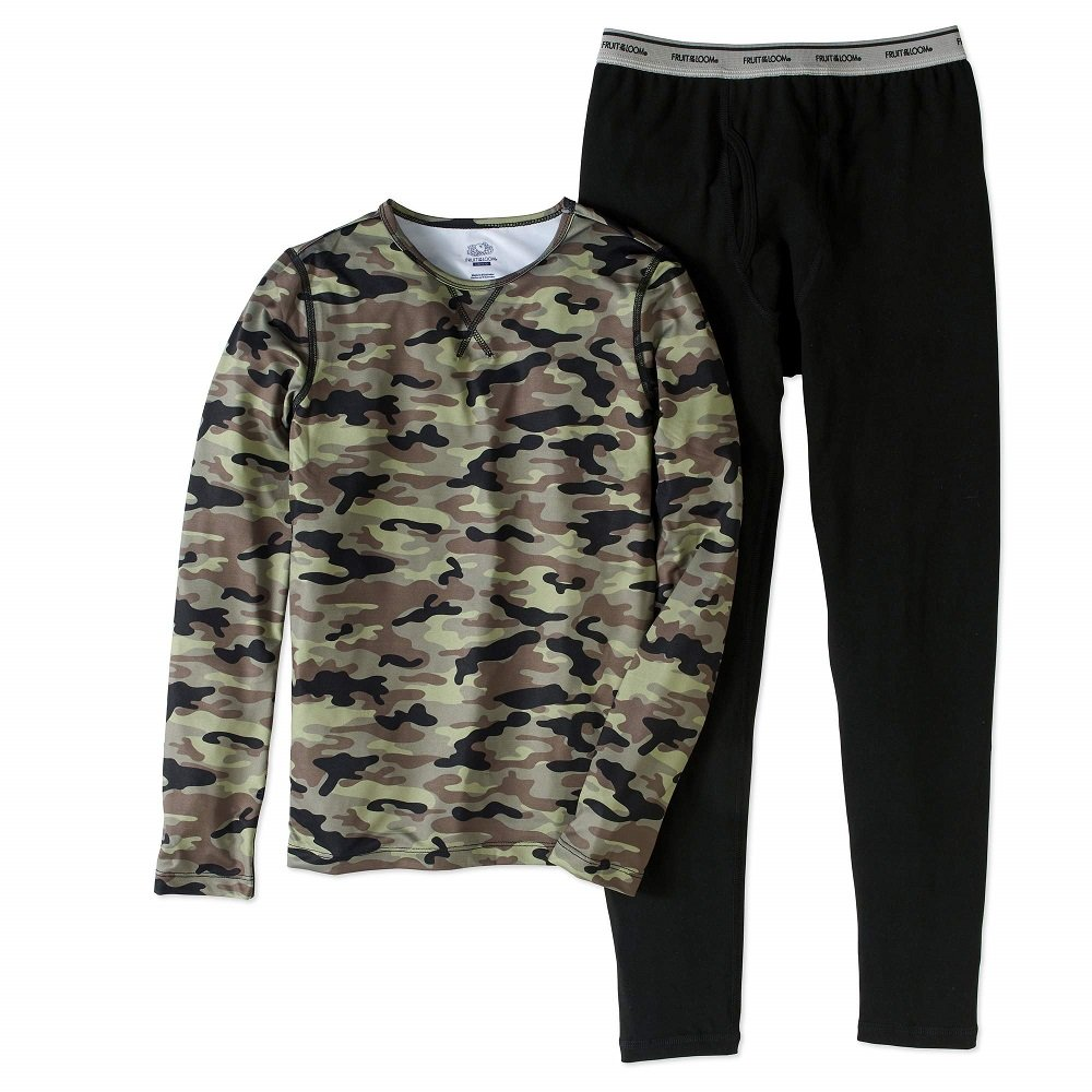 Fruit of the Loom Boys Performance Thermal Underwear Top and Bottom Set - Green Camo