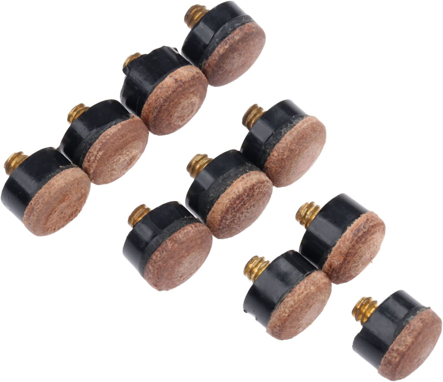 Screw-On Pool Cue Tips MUXSAM 10Pcs Billiards Replacement Parts Pool Cue Stick Ferrules