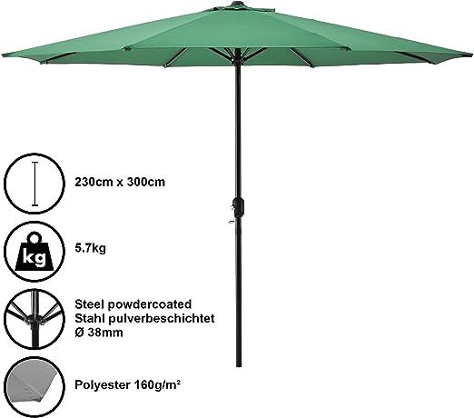 casa.pro] Sombrilla Ø 300cm [Verde] con manivela Parasol para ...