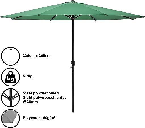 casa.pro] Sombrilla Ø 300cm [Verde] con manivela Parasol para jardín, terraza, balcón Patio: Amazon.es: Hogar