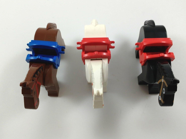Lego lot of 3 HORSES Black Brown White W/SADDLES