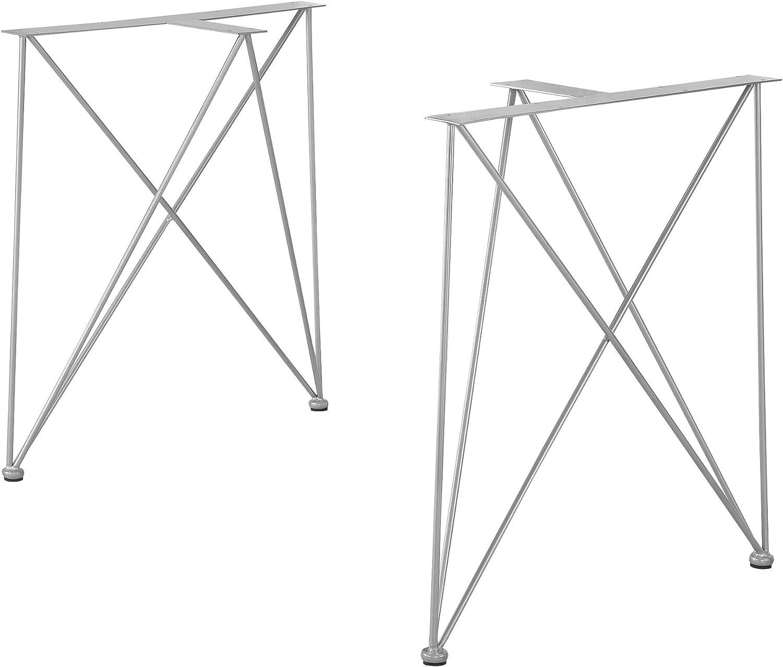 [en.casa]®] Conjunto de Patas de Mesa Set de 2X Patas 62 x 22 x 72 cm Base de Muebles DIY Hágalo Usted Mismo Pies de Mesa Protectores Incluidas Plata