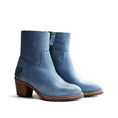 1cf0ae1394d0 Travelin  Bordeaux 6cm Blockabsatz Stiefel   Leder Stiefeletten mit  reißverschluss Damen   Ankle Boots