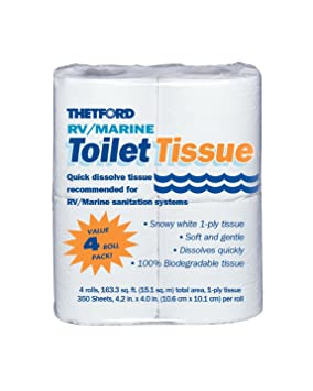 Thetford 20804 RV/Marine Toilet Tissue, Single Ply, RV Parts ...