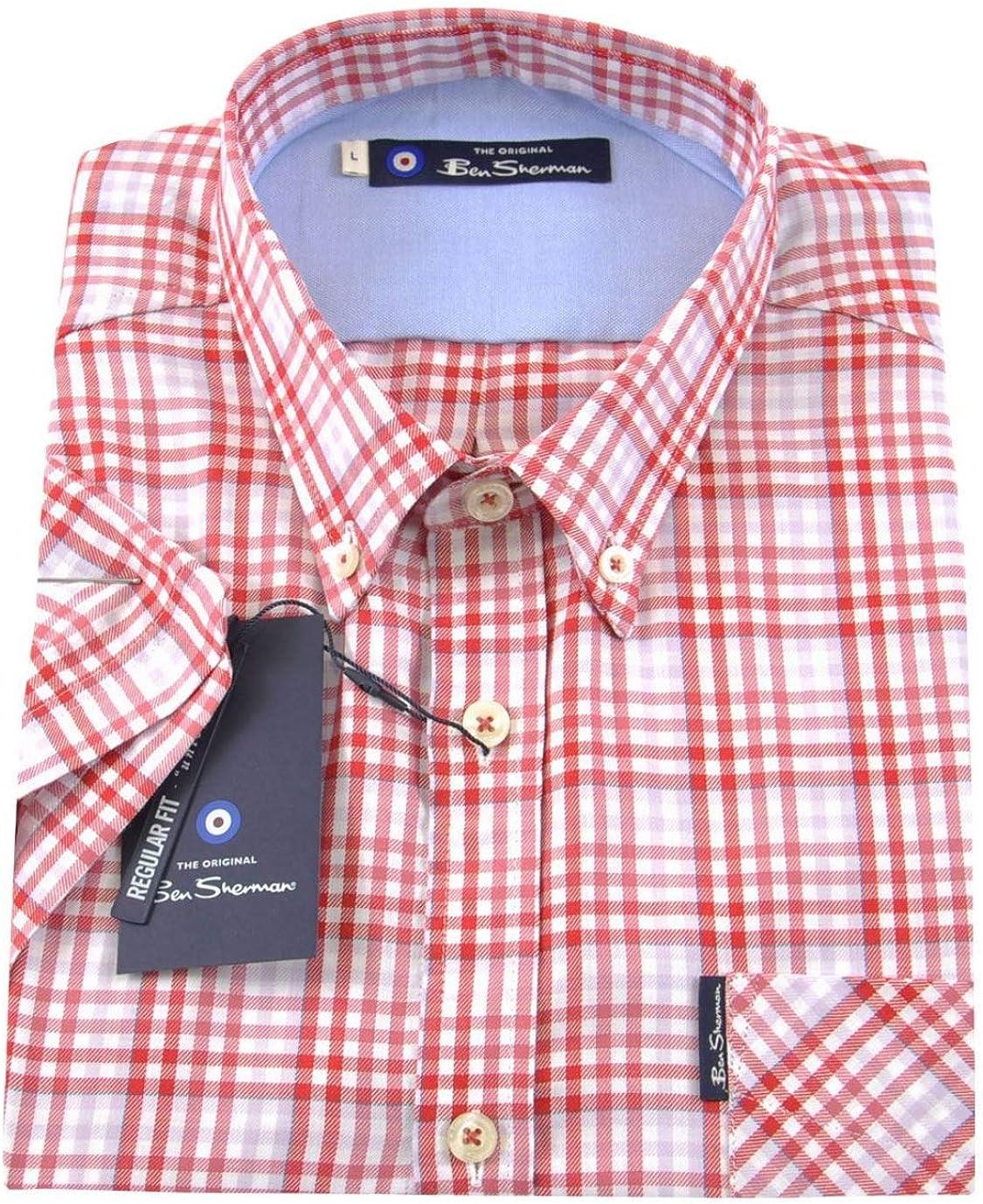 Ben Sherman - Camisa de Manga Corta para Hombre, diseño de Cuadros Rojo Rosa (b) XL: Amazon.es: Ropa y accesorios