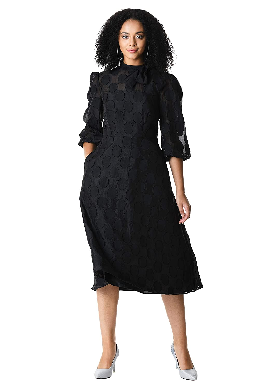 1930s Dresses | 30s Art Deco Dress eShakti Womens Bow tie Polka dot Burnout Organza Dress $129.95 AT vintagedancer.com