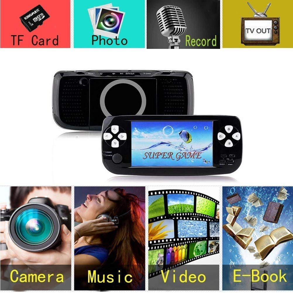 BAORUITENG Handheld Game Console, Portable Video Game 4.3'' TFT Screen 4GB Pap Classic Retro Game Console with 3000 Games 64 Bit Classic Game Console,Birthday Gift for Children (Black)