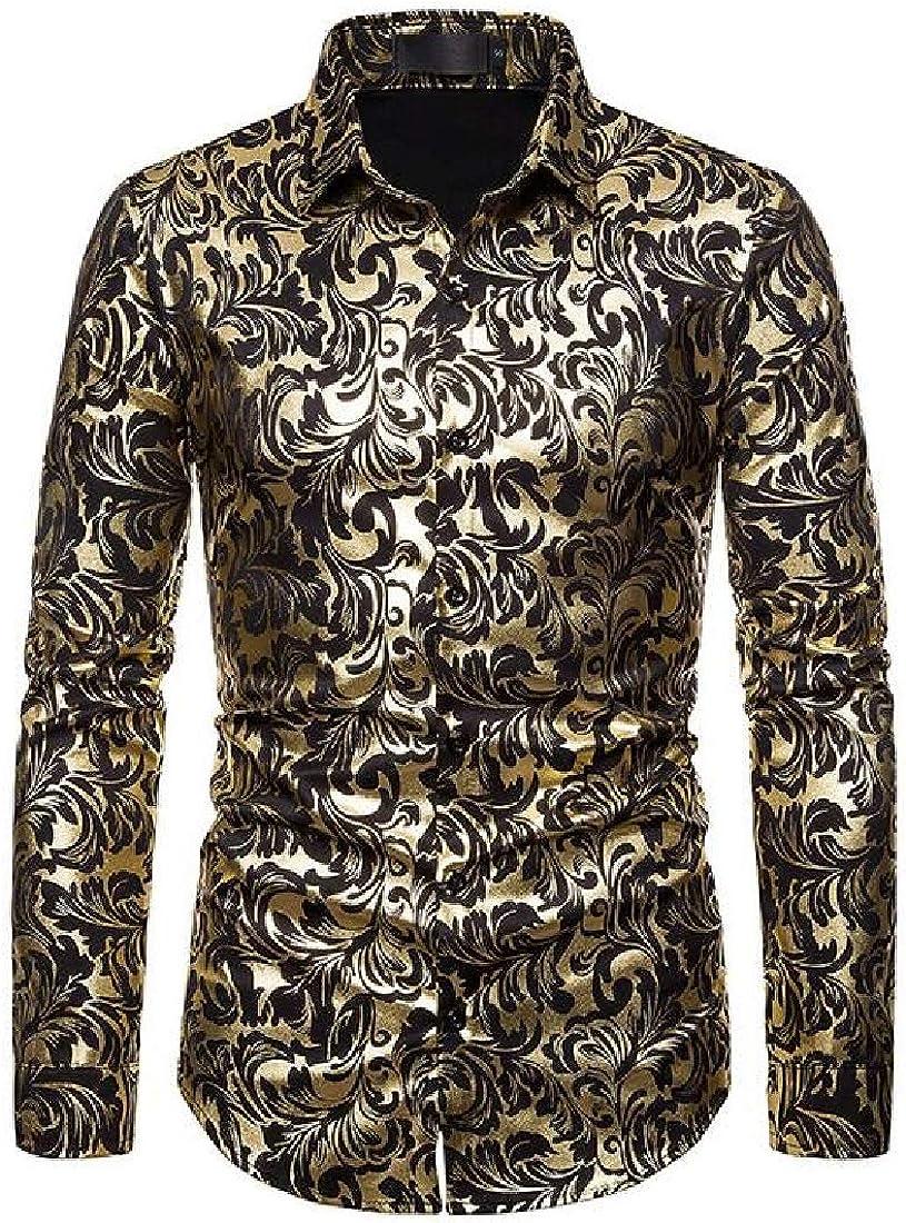 Spirio Men Slim Fit Lapel Business Printed Long Sleeve Button Up Dress Work Shirt