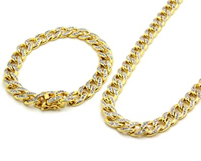 1f5df28677e Gold Tone Clear Iced Out Cz 30 quot  10mm Miami Thick Cuban Chain   9 quot