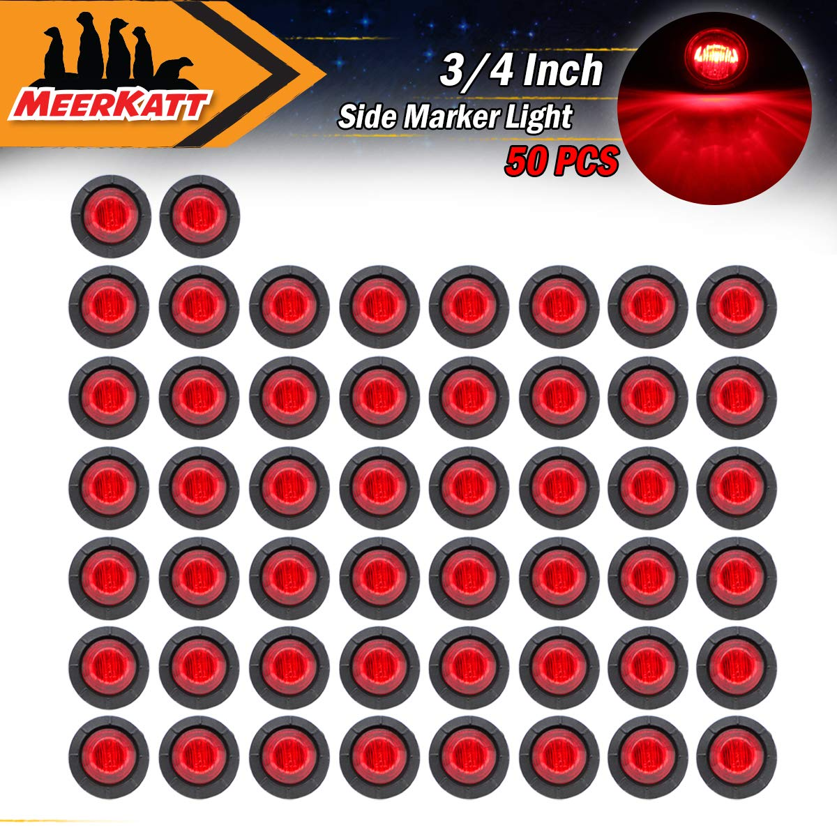 Meerkatt (Pack of 50) 3/4' Inch Mini Small Round White LED Side Marker Clearance Lamp Recessed mount Indicator Light with black rubber grommets RV Trailer Boat Bus Lorry Pickup Truck Waterproof 12V DC