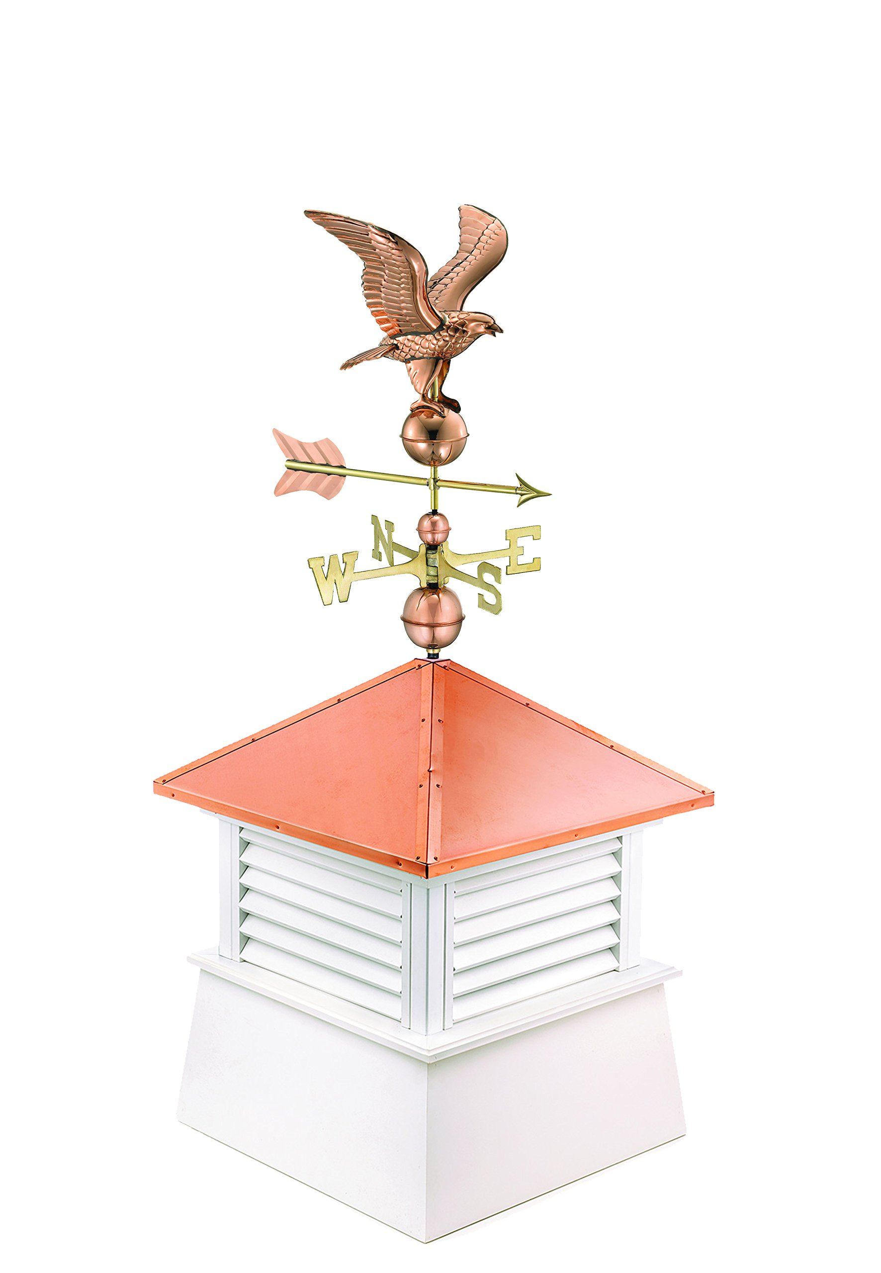 """Manchester Vinyl Cupola with Eagle Weathervane, Perfect size for a 2 Car Garage or Smaller House, 30"""" square x 68"""" high, Pure Copper Roof"""