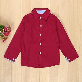 Conquro Camiseta de Otoño e Invierno Rojo para niño Camiseta + ...