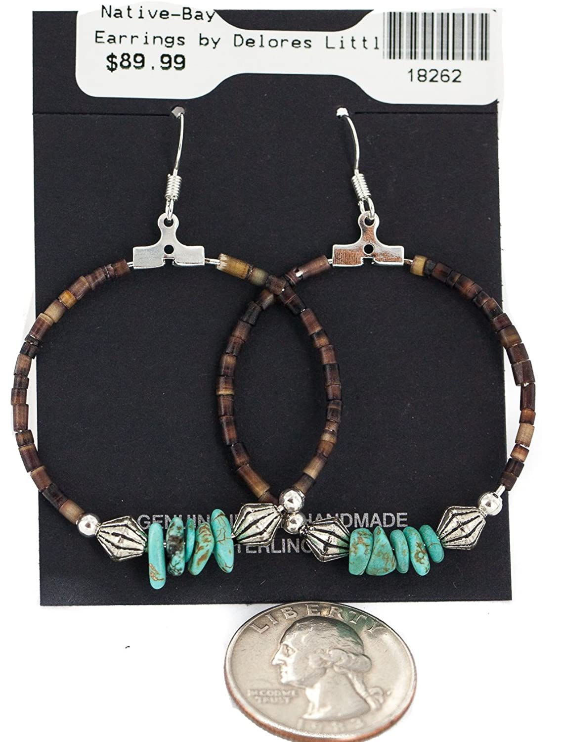 $90 Retail Tag Silver Authentic Made by Delores Little Navajo Natural Turquoise Heishi Hoop Native American Earrings