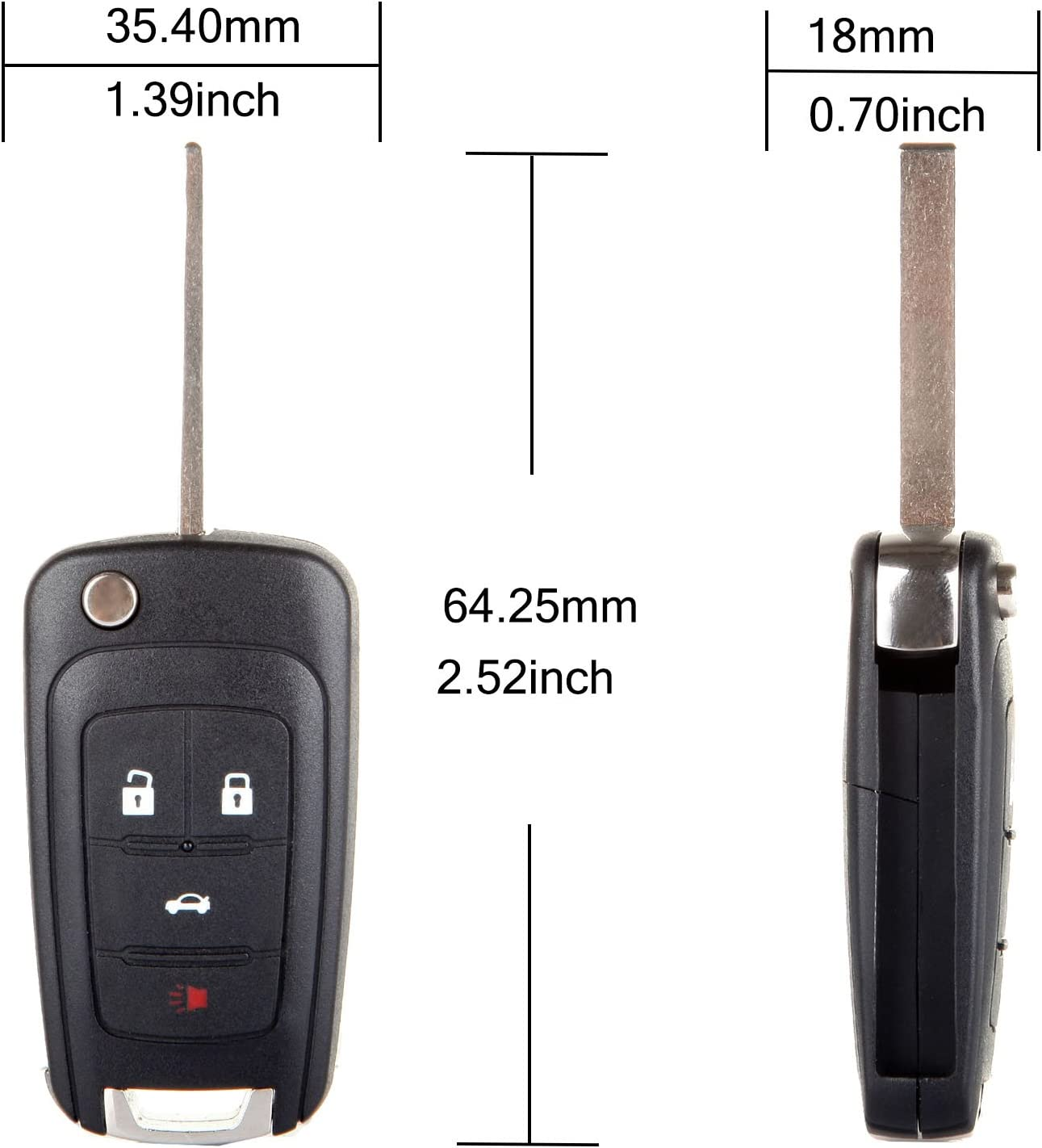 ANPART 2 X Remote Key Fob Uncut Ignition Key Compatible for 10 11 12 13 14 15 16 CHEVROLET Camaro Cruze Equinox Malibu FCC OHT01060512