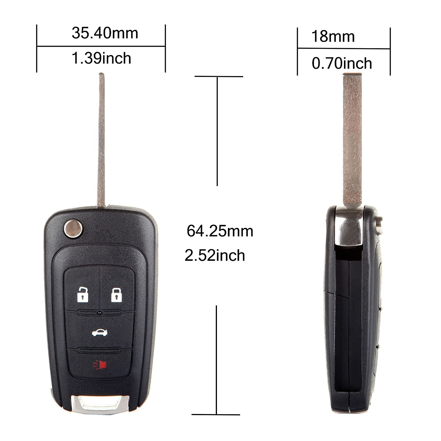 ECCPP Replacement fits for Uncut Keyless Entry Remote Key Fob 2010-2016 Chevrolet Camaro//Chevrolet Cruze//Chevrolet Equinox//Chevrolet Malibu OHT01060512 Pack of 2
