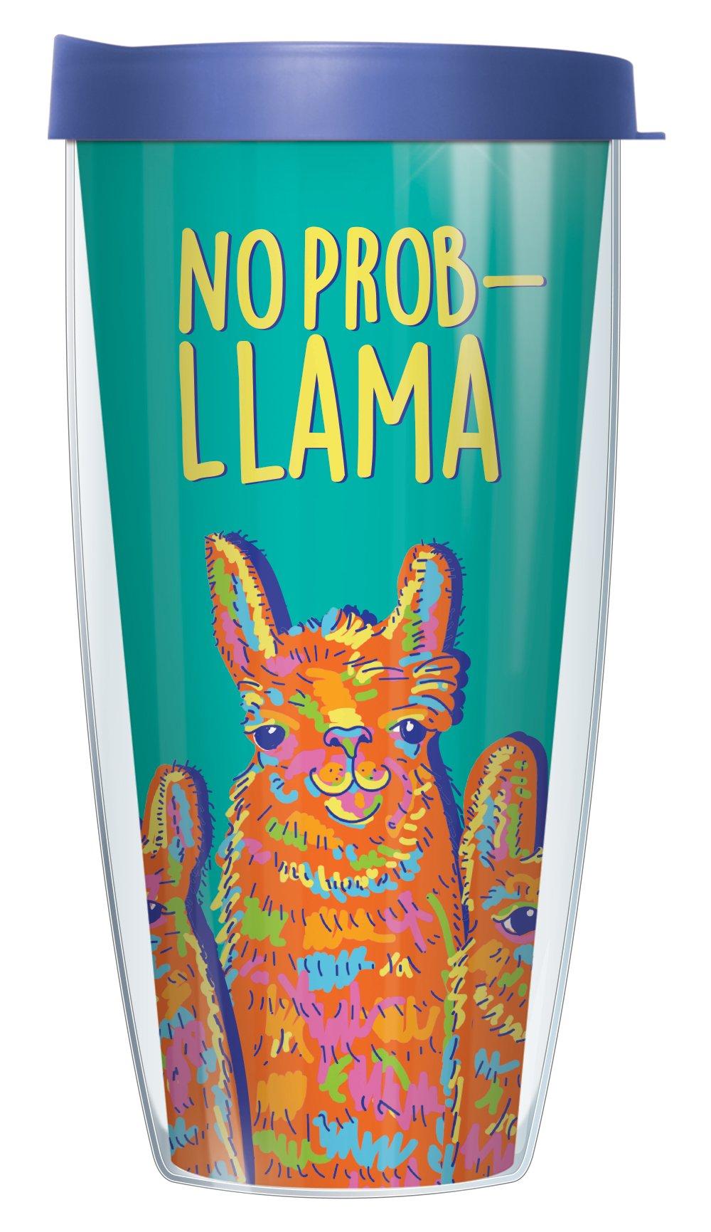 No Prob-Llama 22oz Mug Tumbler Cup with Blue Lid