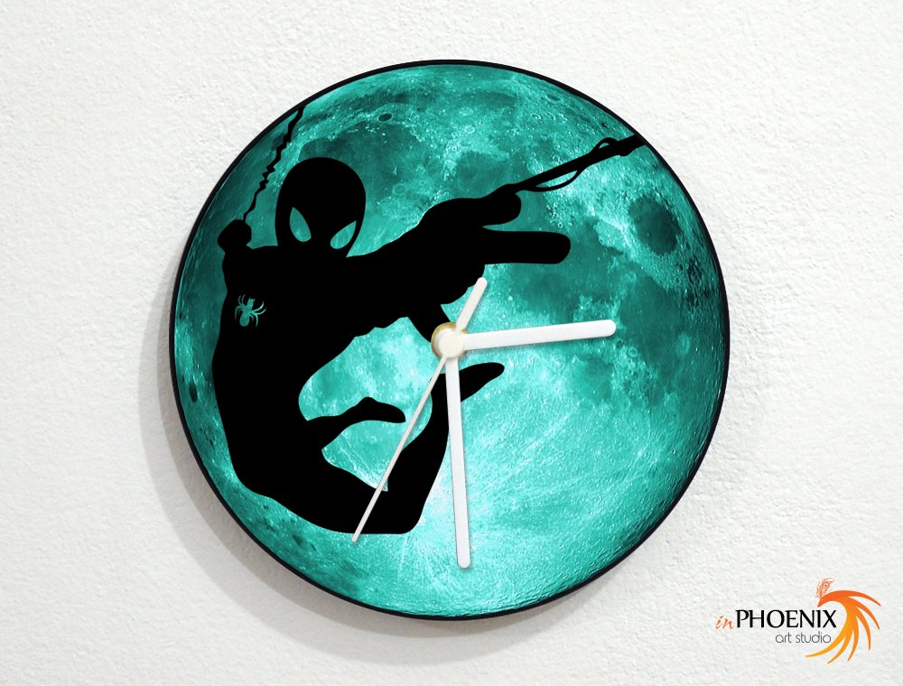Spider-Man - Marvel Comics - Teal Full Moon - Universe Stars Space Galaxy Solar Planet - Custom Name Wall Clock