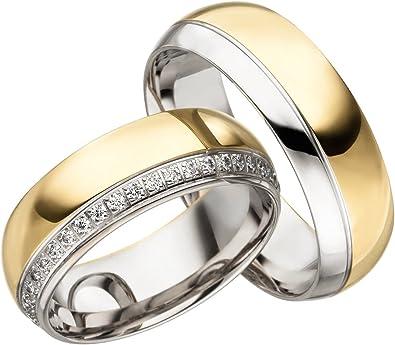 GRATIS Gravur 925 Silber inkl Partnerring mit Stein 1 Damenring//Ehering