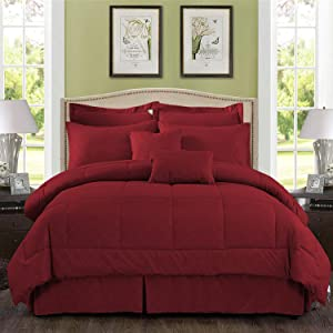 """MERRY HOME Comforter Set, 10 Piece Comforter Bedding Set with Sheet Set Fit 14"""" Deep Pocket - Plush Luxury Solid Color Quilted Pattern for All Season, (Burgundy, King)"""