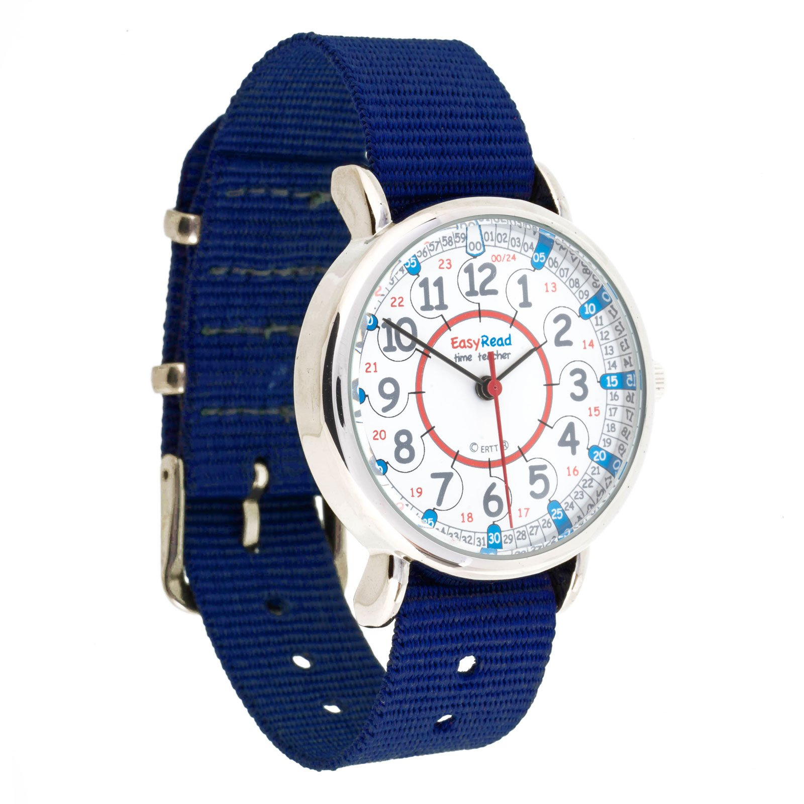 EasyRead Time Teacher Children's Watch, 12 & 24 Hour Time, Red Blue Grey Face/Navy Blue Strap by EasyRead Time Teacher