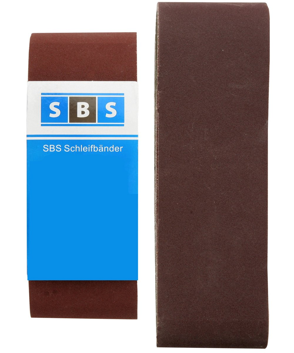 10 unidades, 75 x 457 mm, grano 80 Bandas de lija SBS