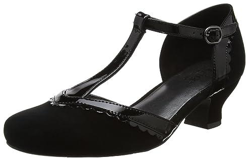 Viviene, Scarpe col Tacco con Cinturino a T Donna, Blu (Navy-Navy Patent 032), 42 EU Hotter
