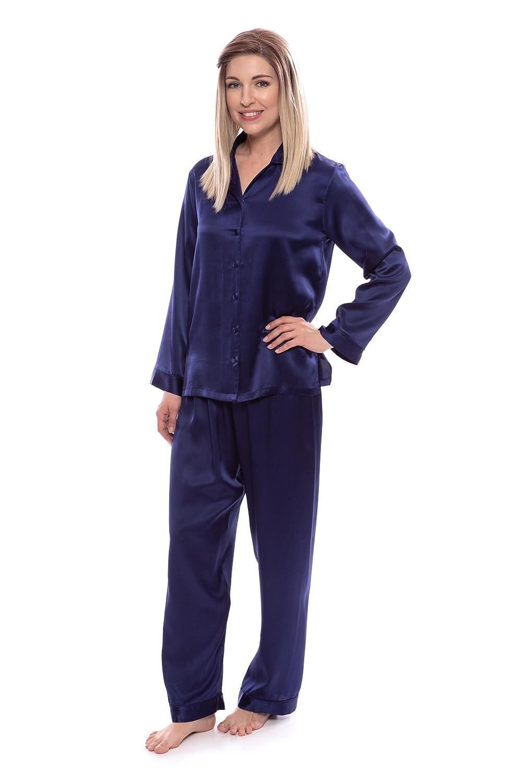 37d0db0a5f TexereSilk Women s 100% Silk Pajama Set - Luxury Sleepwear Pjs (Morning  Dew) at Amazon Women s Clothing store