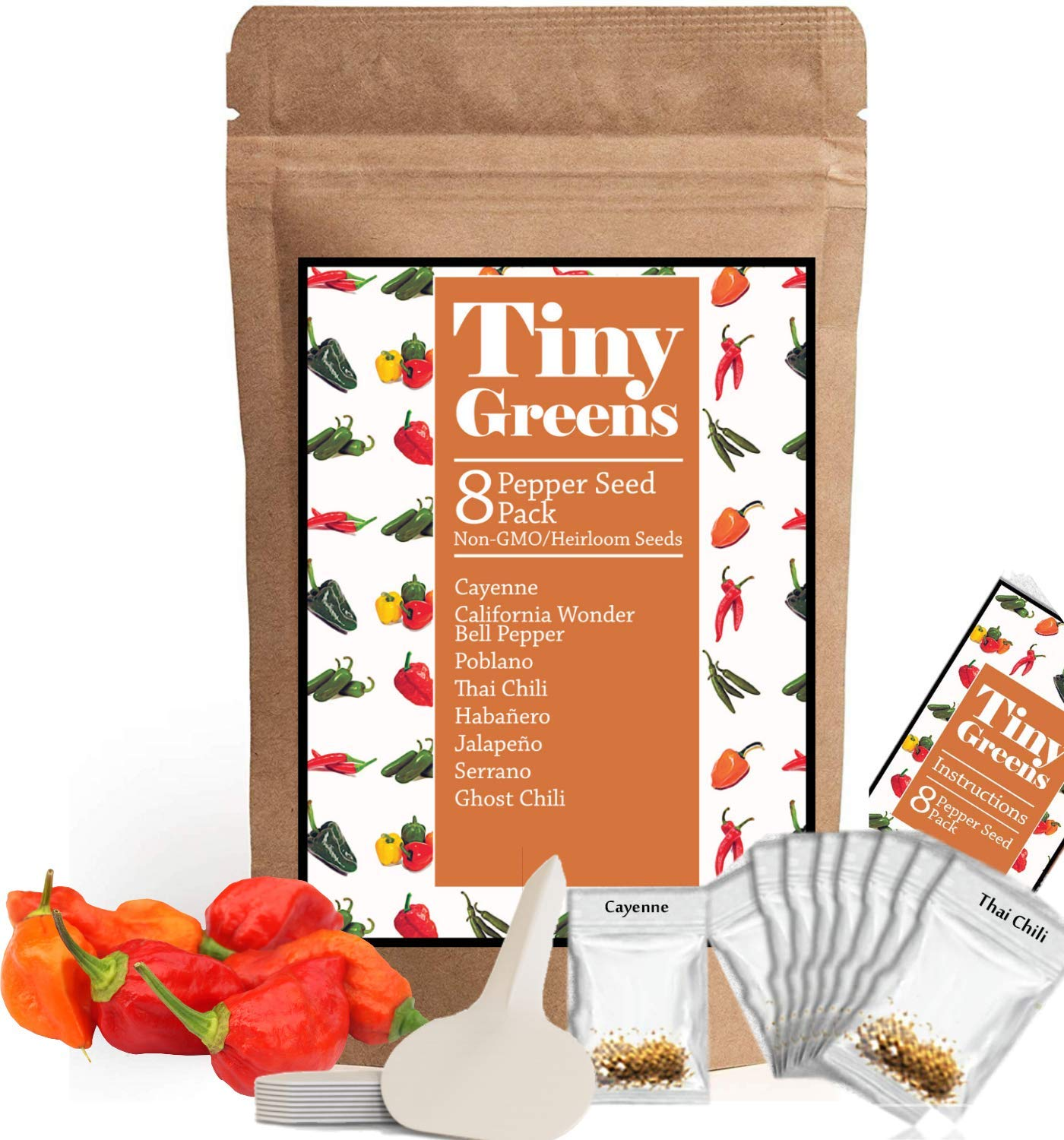 Heirloom Pepper Seed Variety Pack | 8 Hot & Sweet Peppers For Planting | Garden Vegetable Seeds | Cayenne, California Bell Pepper, Poblano, Thai Chili, Habanero, Jalepeno, Serrano, Ghost Pepper by Tiny Greens