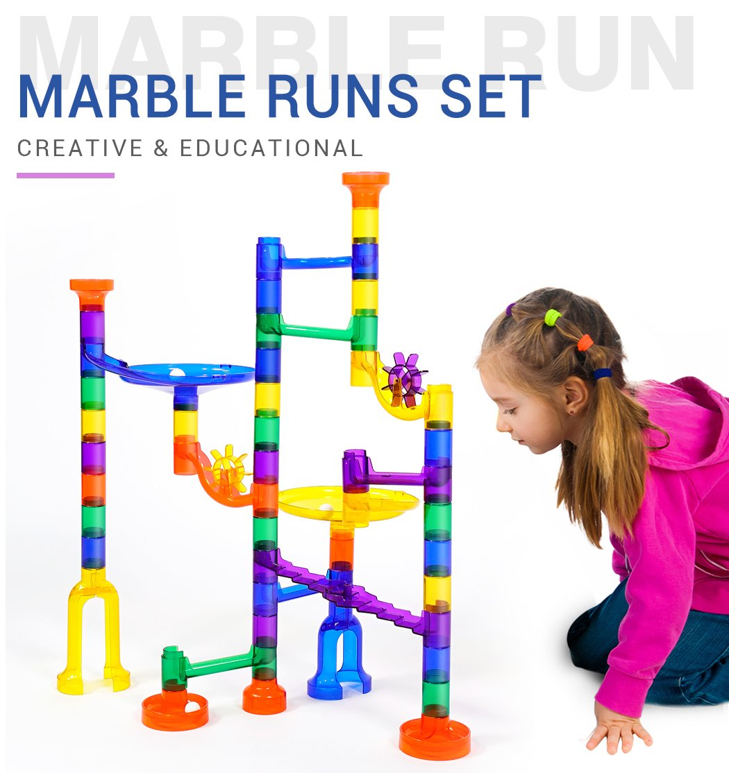 Marble Runs Set Kids Toys 80 Pcs Marble Race Track Game Marble Race Coaster Set Learning Toys Educational Construction Building Blocks Christmas Birthday Gifts STEM Toys Kids, 92 PCS by K Toys (Image #2)