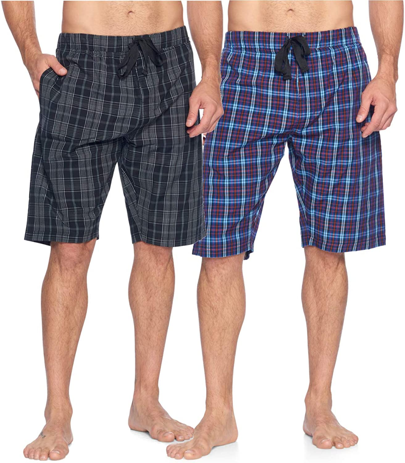 Ashford & Brooks Men's Sleep Pajama Lounge Boxer Shorts | Woven Plaid PJ Jammies Boxers Bottoms
