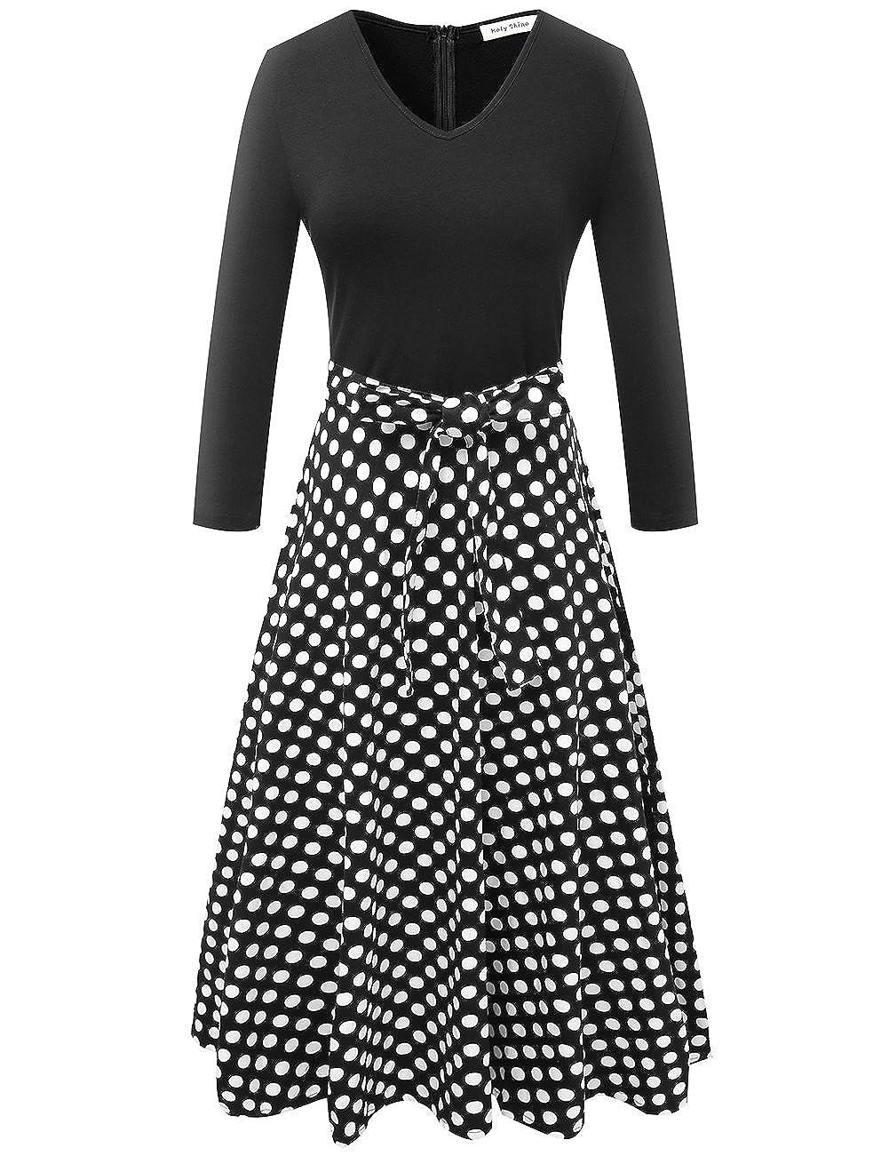 f8b62c87da33c Top:95%cotton + 5%spandex,Skirt:97%cotton + 5%spandex. Machine Washable/  Hand wash cold/Don\'t bleach/ Air Dry,low iron if needed. Polka dot a line  dress: ...