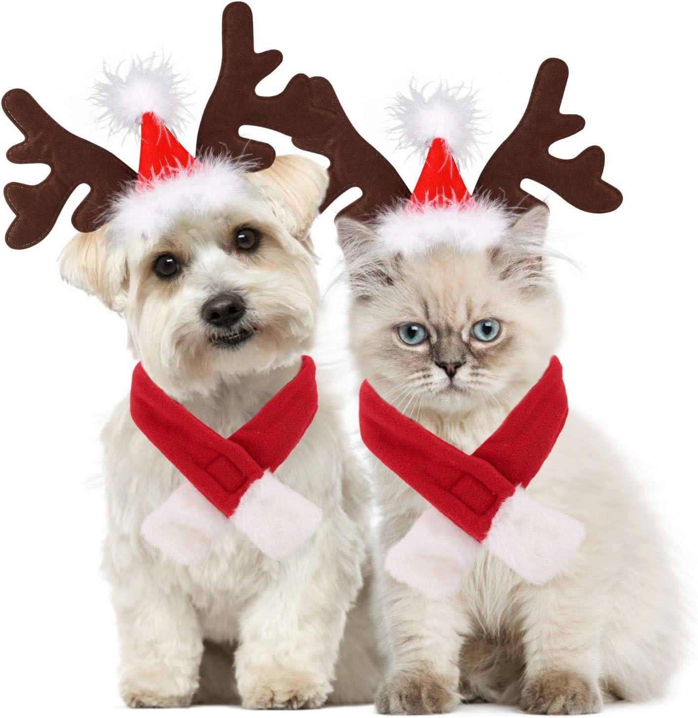 Legendog Disfraz de Navidad para perro, ajustable con cuernos y bufanda, disfraz de Navidad para perros y gatito dulce regalo (gorros + bufanda)