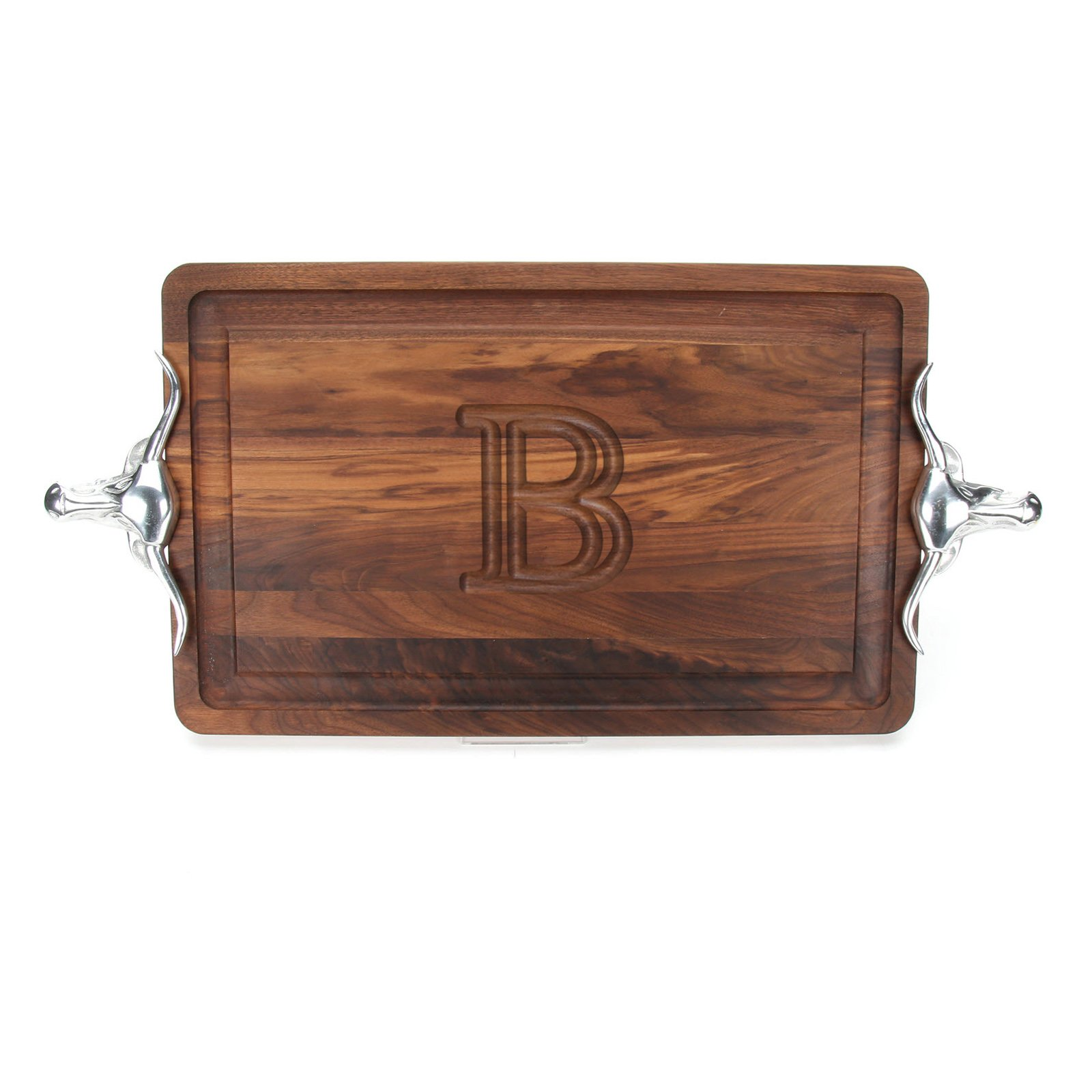 BigWood Boards W220-LLH-B Thick Carving Board with Large Longhorn Handle in Cast Aluminum, 15-Inch by 24-Inch by 1.25-Inch, Monogrammed''B'', Walnut