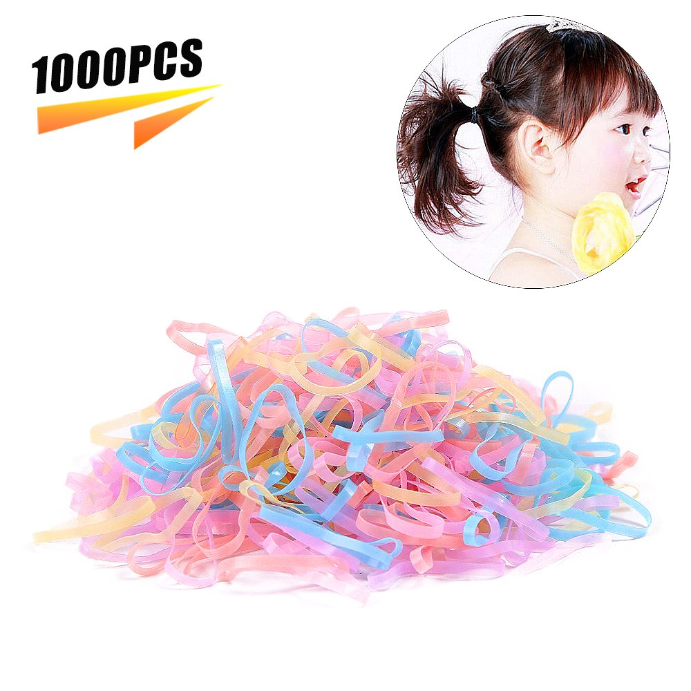 Hair Rubber Bands Tie Elastic Rubber Hair Hair Design Styling Tools Accessories for Children women girl lady/1000Pcs (Clear) Ouchver
