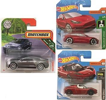 Tesla Pack de 3 Coches Coleccionista Eléctricos: Amazon.es ...