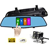 SENDOW Mirror Dash Camera 4.5 Inch IPS Touch Screen Full HD Resolution 6G Glass Lens with Rearview Backup Camera Dual Lens Vehicle Dashboard Recorder DVR Parking Monitor G-Sensor Loop Recording