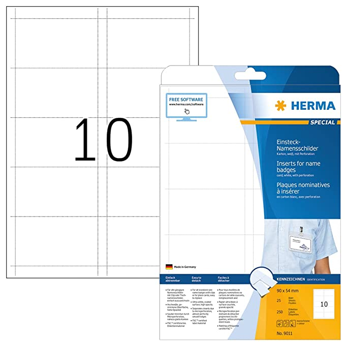 Herma 9011 Namensschilder Für Kleidung Din A4 90 X 54 Mm 25 Blatt Karton Perforiert Bedruckbar Nicht Klebende Einsteckkarten 250