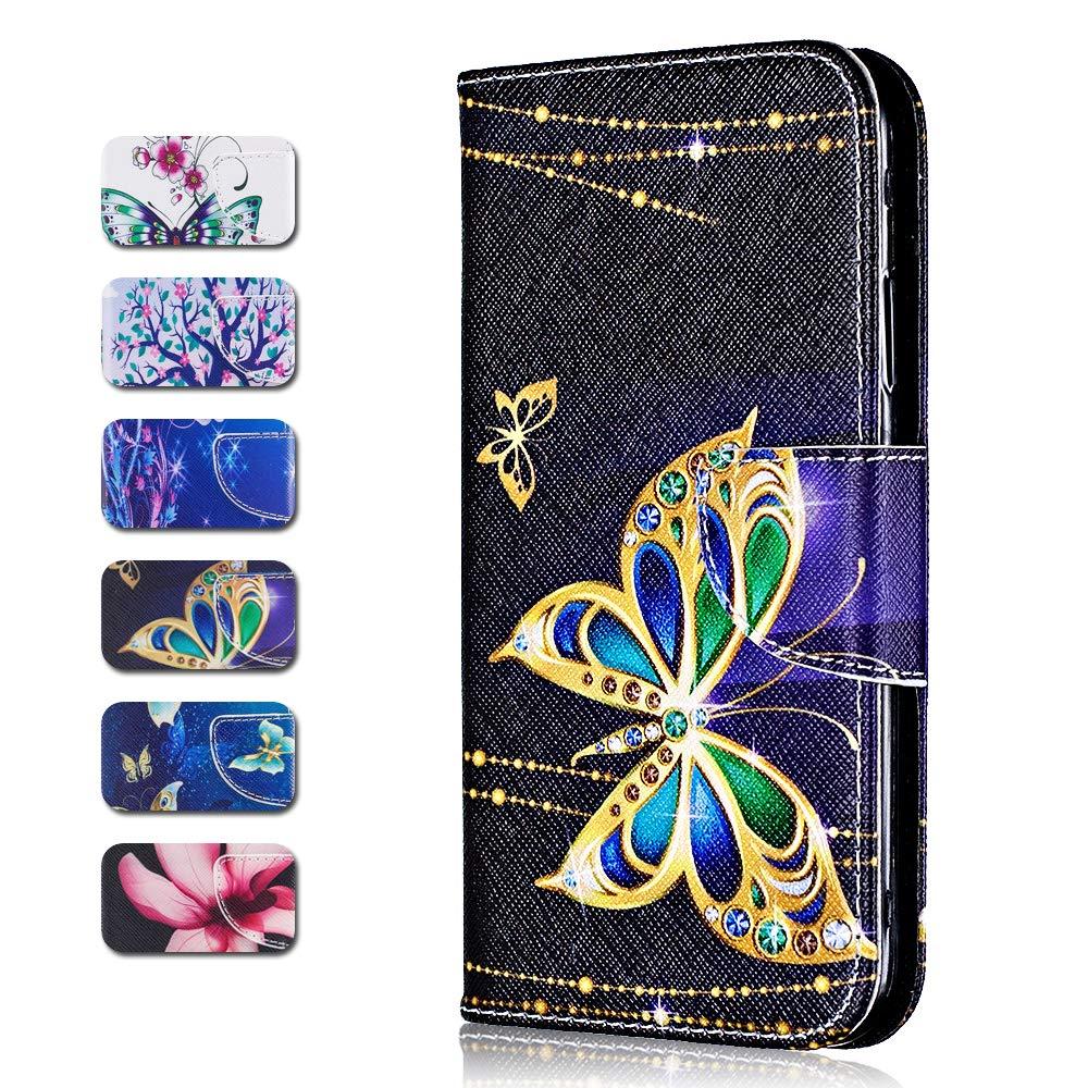 /Étui en Cuir /à Rabat CAXPRO Coque iPhone 7 Plus // 8 Plus Portefeuille Coque pour Apple iPhone 7 Plus // 8 Plus avec Fermeture magn/étique et Emplacements pour Carte Lotus