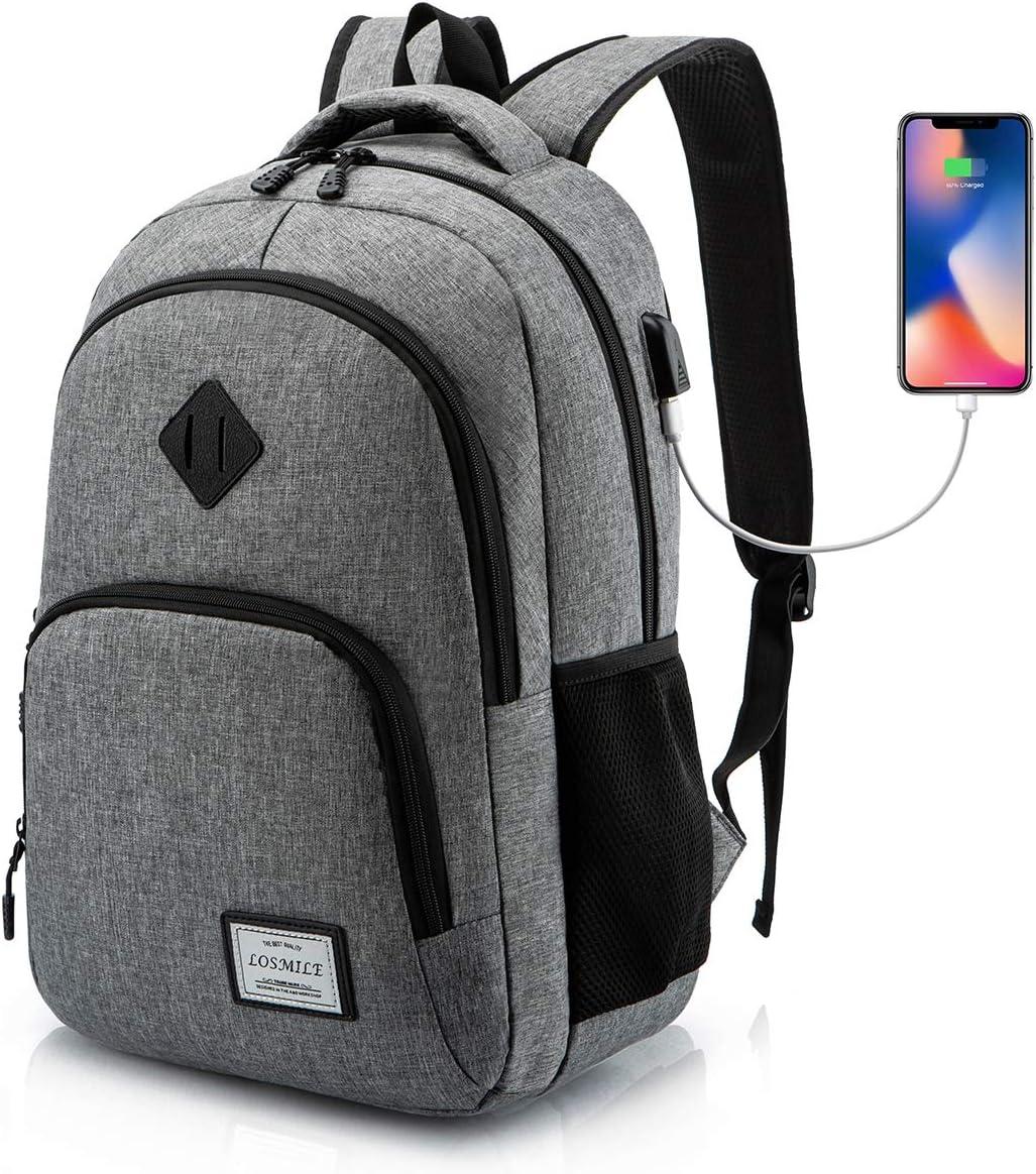 LOSMILE Mochilas Escolares Mochila Portatil para Hombre Juveniles con Puerto de Carga USB Resistente Al Agua Bolsa de Viaje Trabajo Daypacks 15.6 Pulgada (Gris): Amazon.es: Electrónica