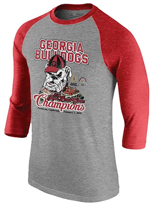 9c3dd6af Georgia Bulldogs Victory 2018 Rose Bowl Champs Red Gray 3/4 Sleeve T-Shirt