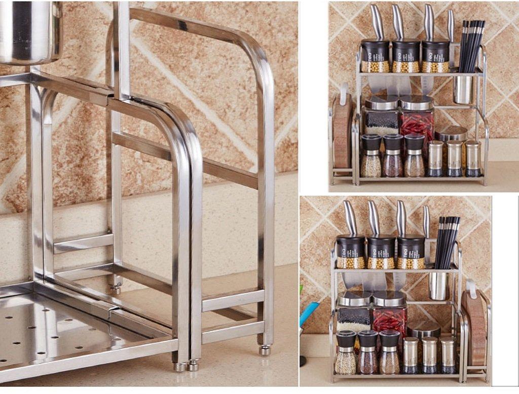 Hyun times 304 Stainless Steel Kitchen Racks Hanging 2 Layers Seasoning Seasoning Kitchen Utensils Supplies Knife by Hyun times Bowl shelf (Image #3)