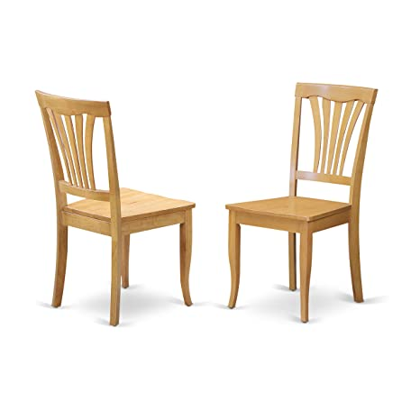 East West Furniture AVC-OAK-W Dining Room Chair Set with Wood Seat, Oak  Finish, Set of 2