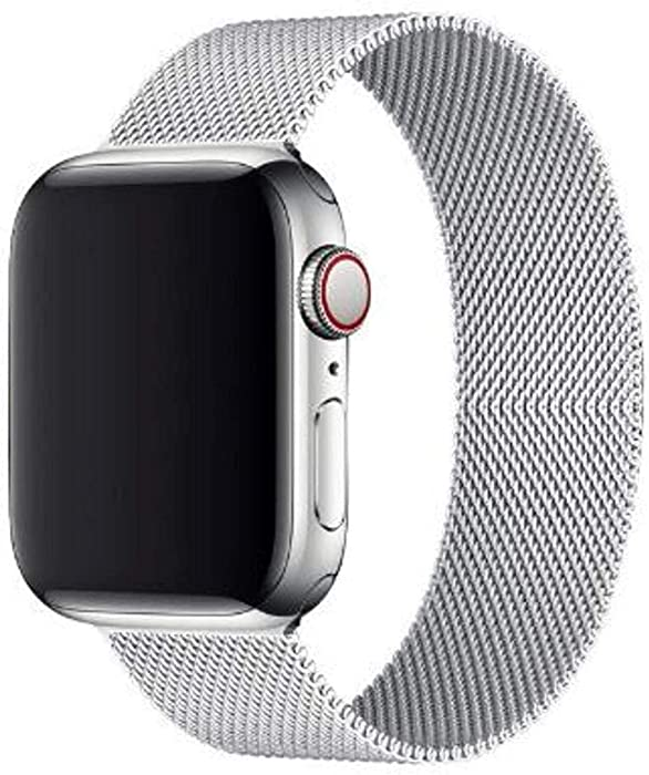 Mediatech Compatible with Apple Watch Bands 44mm 42mm 40mm 38mm Stainless Steel Wristband Mesh Loop Magnetic Closure Adjustable Metal Replacement Strap for iWatch Series 1/2/3/4/5/6/SE 42/44mm Silver