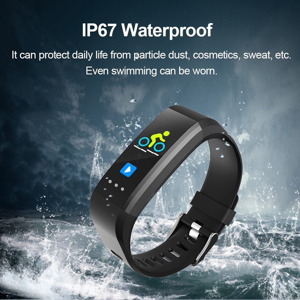 Glumes Bluetooth Smart Watch with heart Blood Pressure Test Heart Rate Monitor Touchscreen Wrist Watch Unlocked Waterproof Smart Watch for Android Samsung IOS Iphone Plus Men Women (Black)