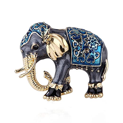 Gquan Broche Broche Animal Retro Broche Elefante (Color : Azul ...