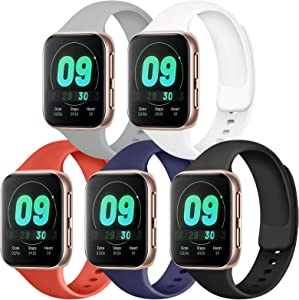 IEOVIEE [Pack 5] Compatible for Apple Watch Bands 38mm 42mm women men, Soft Silicone Strap Compatible with iWatch bands Series 6 5 4 3 2 1 & SE (White/Black/Gray/Navy Blue/Red, 38mm/40mm-S/M)