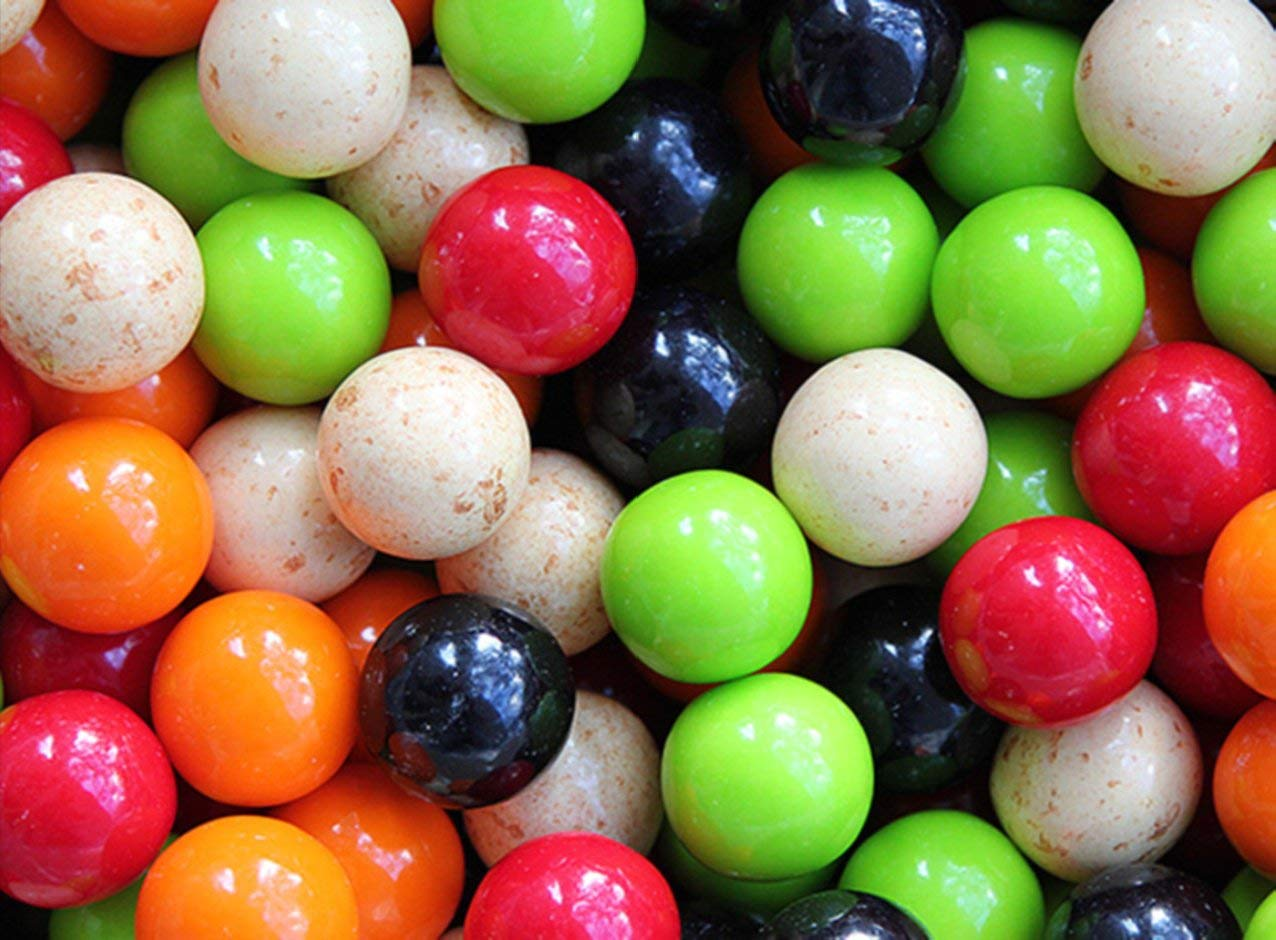 Gumballs for Gumball Machines - Soda Fountains - 1 inch box of 15 lb - Fresh Gumballs for Bulk Vending Machines - Gumball Machine Refills - Fruit Gumballs 25 mm 850 Count by Oak Leaf (Image #1)