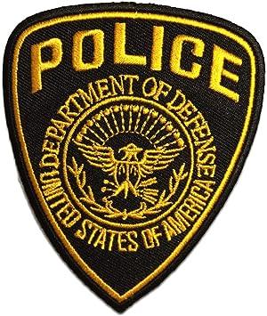 Parches - Police policía Logo - amarillo - 7,5x9,3cm - termoadhesivos bordados aplique para ropa: Amazon.es: Hogar