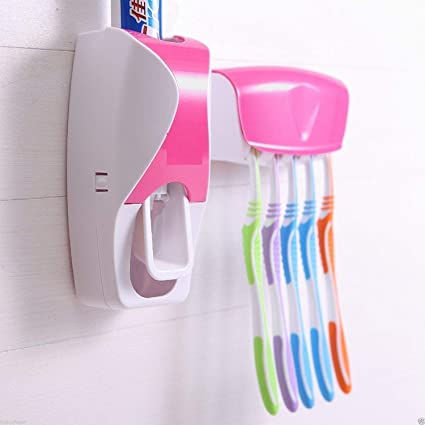 2019 Automatic Toothpaste Dispenser 5 Colors Toothbrush Holder Set Squeezer Bath